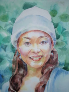 微笑み(水彩肖像画)